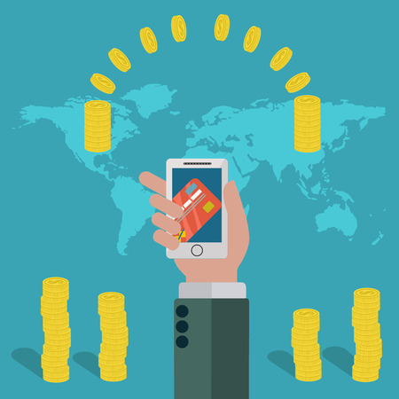 fund world: Online money transfer by mobile phone all over the world vector concept