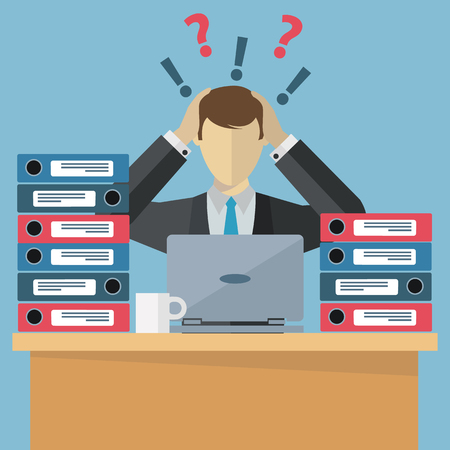 Overworked employee, work stress, paperwork vector llustration