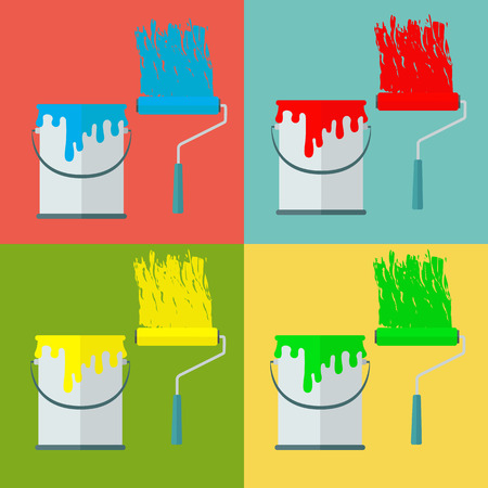 rollerbrush: Paint can and paint roll in different colors vector concept Illustration