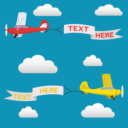 Airplane pulling banner with text, aerial advertising vector illustration Illustration