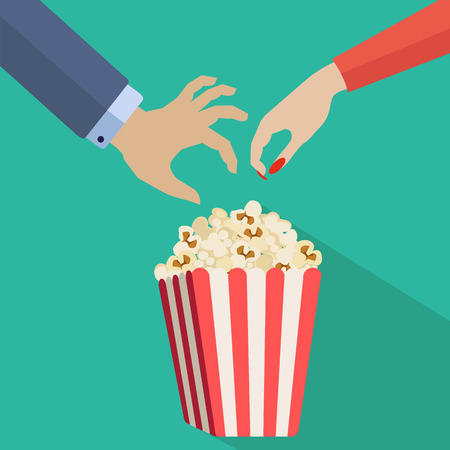 crispy: Couple hands reaching for popcorn vector illustration