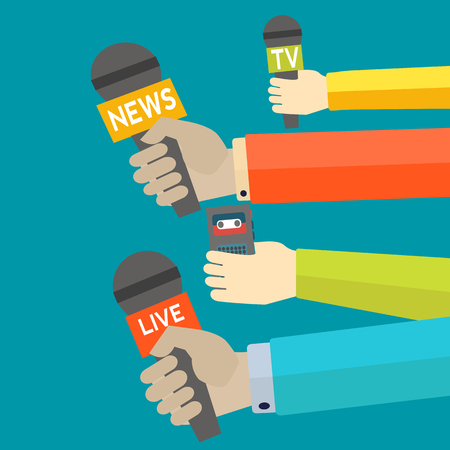 Journalism vector concept with hand holding microphones