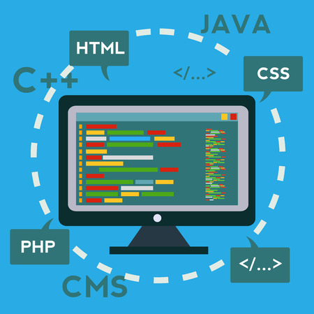 programming code: Coding and programming, App development and creation, Software and program code, Web design Vector concept