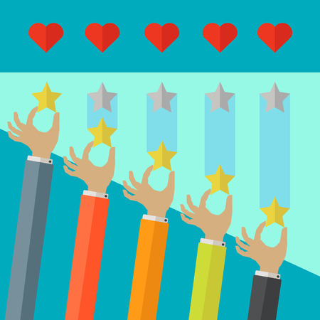 Star rating system with hearts and hands putting stars in place vector concept