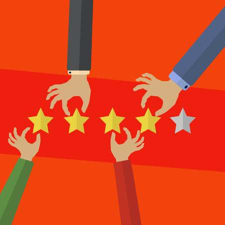 Hands of customers placing rationg stars vector concept Illustration