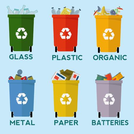 separacion de basura: contenedores de basura de colores de reciclaje para separación de residuos conjunto de vectores Vectores