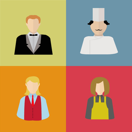 warder: Restaurant staff in uniforms icons waiter, chef, bartender and dishwasher set Illustration