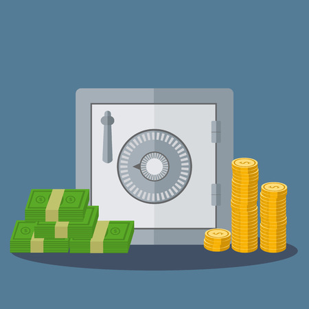 Small safe with money in coins and notes vector illustration Çizim