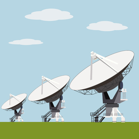 radio beams: Satellite dish array vector illustration