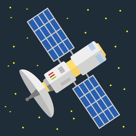 通信: Communication satellite with solar panels in space vector illustration