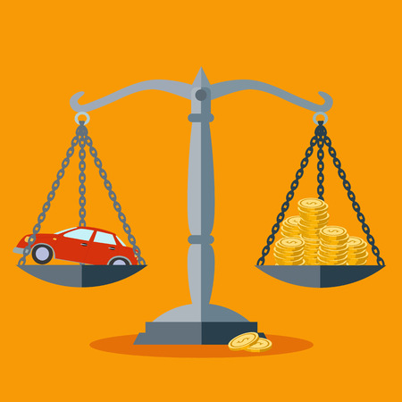 Vehicle value or investment in transportation vector concept Illustration