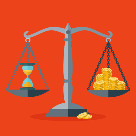 Time and money balance vector concept Illustration