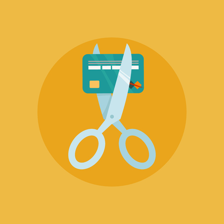 credit crunch: Scissors cutting credit card vector illustration