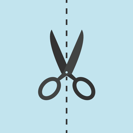 Cut on the line with scissors vector icon