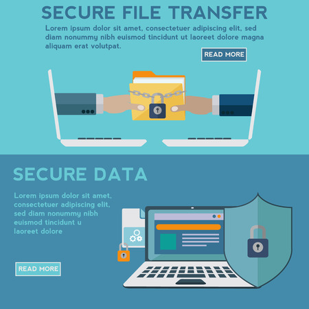 searh: Secure data and file transfer vector concept