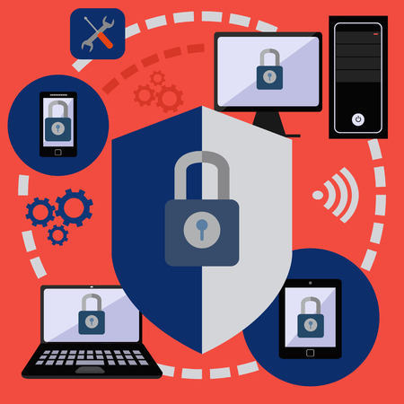 Internet security and data protection for digital devices vector concept