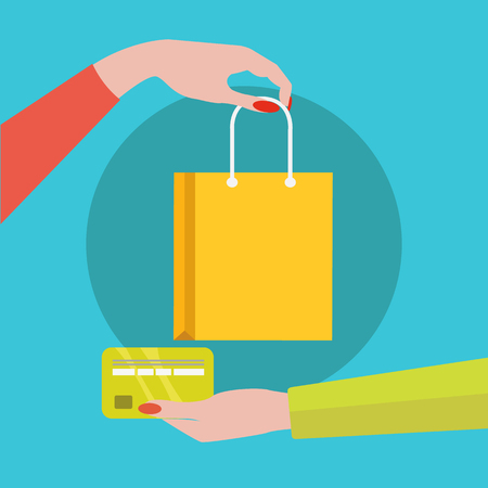 Credit card payment for item, shopping vector concept