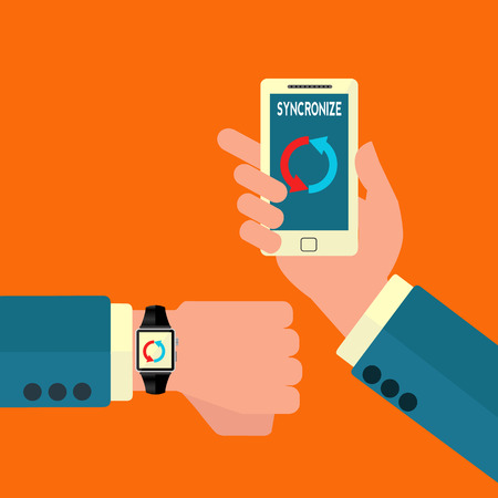 Smart watch and mobile phone syncronizing vector illustration