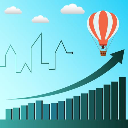 air baloon: Hot air baloon symbolizes business profit rising vector concept
