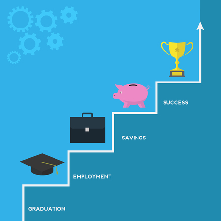 path to success: Path to success from graduation vector concept Illustration