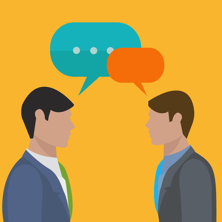 Businessmen talking and discussing business vector illustration