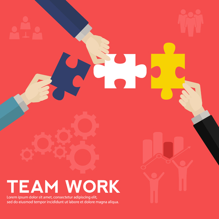 Vector concept of a team solving a puzzle