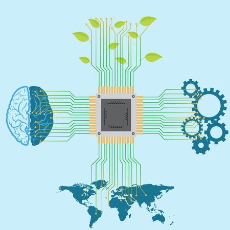 Technology and information development and advancement vector concept