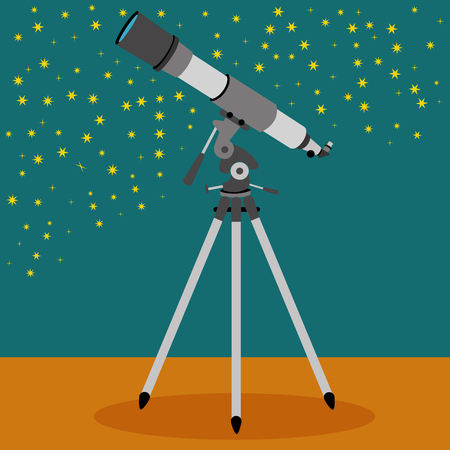 night vision: Telescope with a sky with stars in the background vector illustration