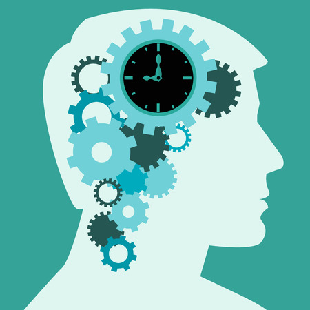 Time to think, human brain creative process vector concept