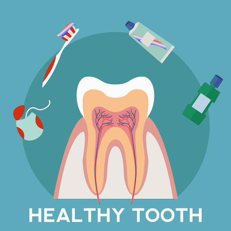 Healthy tooth and hygene vector concept