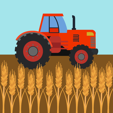 Tractor in wheat field, agriculture vector illustration
