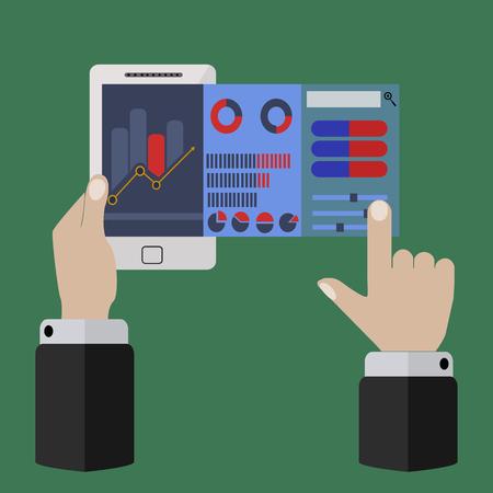 Vector illustration of mobile app for on line trading and market analysis Illusztráció