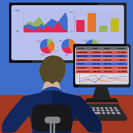 Trader trading on line with analytic graphs vector illustration