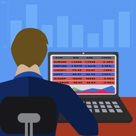 Traderbroker trading on line with lap top business vector illustration