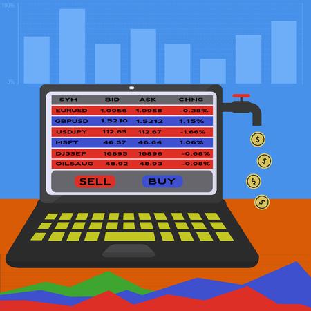 On line trading platform making money vector concept Illusztráció