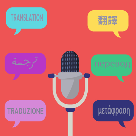 Vector drawing concept for audio translation with chinese, arabic,russian, italian and greek words for translation Illusztráció