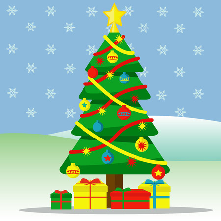Christmas tree with ornaments and gifts outside with snow falling vector illustration