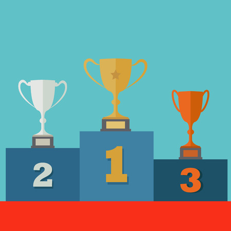 Trophies for first, second and third place on a posium vector concept