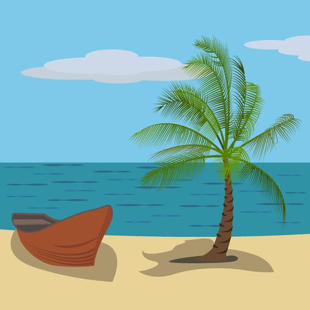 Vector drawing of a holiday tropical destination Illusztráció