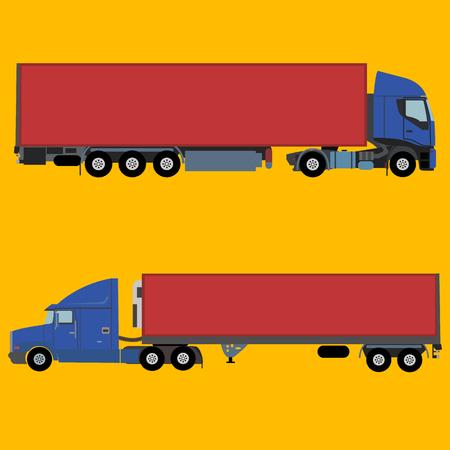 Trucks for long distance shipping vector illustration on orange background