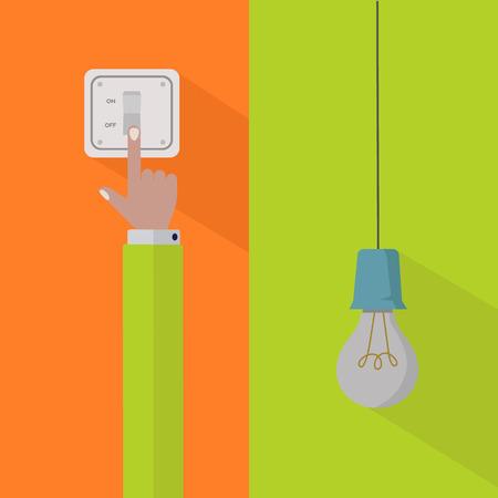 Save electricity and turn off the power vector concept