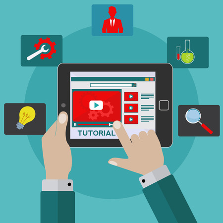 Video tutorial on tablet vector concept