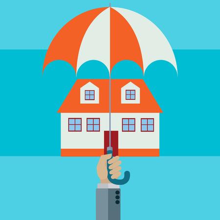 Home protected with hand holding umbrella vector concept Illusztráció