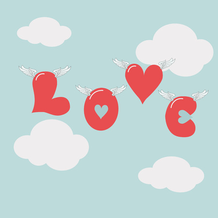 Valentines day love hearts flying in the air abstract vector design vector background design