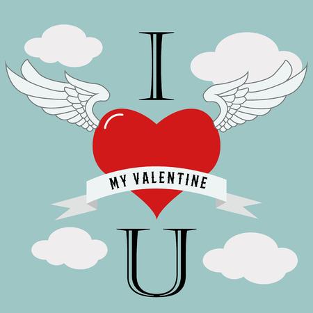 Valentines day flying heart love vector design Illusztráció