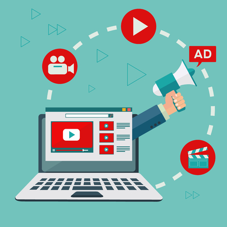 Video marketing and digital advertising vector concept