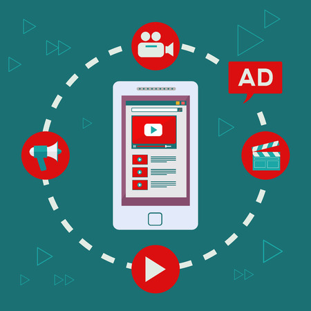 Video marketing and digital advertising on mobile device vector concept