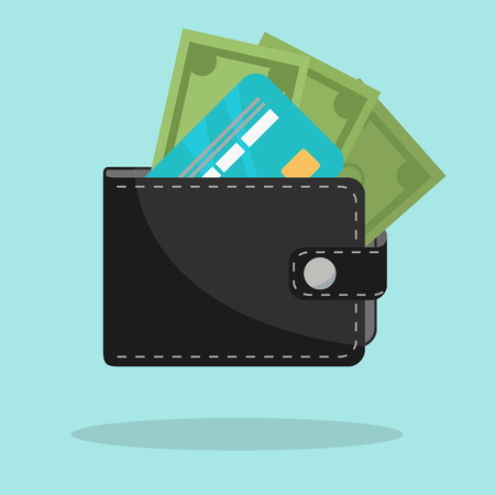 Black wallet with credit card and cash vector illustration