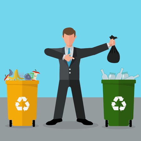 Selective waste sorting, different colored recycle waste bins vector illustration Illusztráció