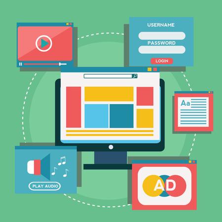 wbsite design content, blogging vector concept